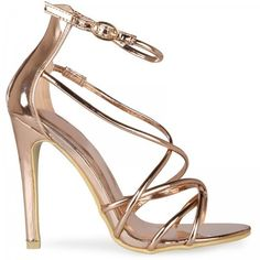 Amerie Cross Over Strap Heels In Rose Gold Faux Leather (125 PEN) ❤ liked on Polyvore featuring shoes, pumps, heels, sandals, summer pumps, vegan leather shoes, open-toe pumps, summer shoes and rose gold shoes
