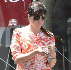 Selma Blair had on a really catchy maxi shirtdress while shopping on Melrose Avenue