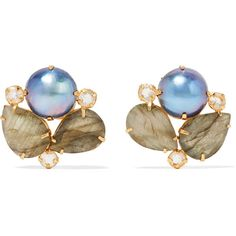 Bounkit - Gold-tone Multistone Earrings ($148) ❤ liked on Polyvore featuring jewelry, earrings, multi, white pearl earrings, iridescent jewelry, lily jewelry, multi stone earrings and gold colored earrings
