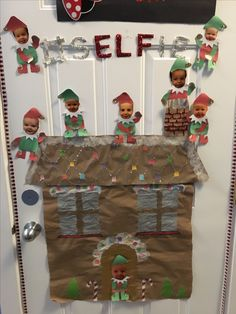"""#Hashtag SELFie!""  One of my most favorite Doors but took the most work. Since Christmas is a busy time in my Daycare, it did take quit a bit of work to make the gingerbread house and 8 little elves. SO WORTH IT though ❤️"