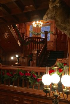 The hallway stairs decorated for Christmas at Craigdarroch Castle. Christmas Stairs, Old Mansions, Historic Homes, Vancouver, Castle, Christmas Decorations, Victoria, Canada, Tours