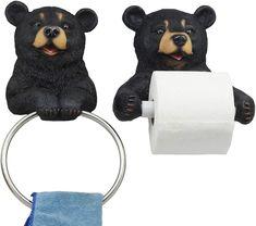 Ebros Whimsical Black Bear Toilet Paper and Hand Towel Holder Set Bathroom Decor Traditional Bathroom Accessories, Decorative Accessories, Black Bear Decor, Unique Toilet Paper Holder, Wall Mounted Toilet, Towel Hanger, Rustic Style, Whimsical