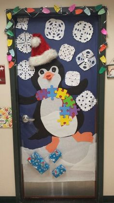 Winter classroom door decorations....Autism Awareness Penguin :-) Created by Mary Jo and Hallie for my classroom :-):-)