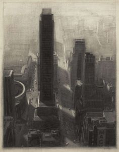 New York Cityscape rendering with charcoal