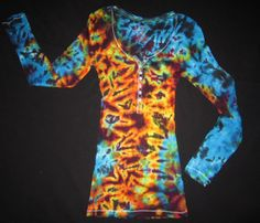 Psychedelic Long Sleeve Tee, Junior Size Small by PsychedelicTieDyes on Etsy