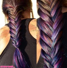 amazing oil slick hair colors blues and purples braided