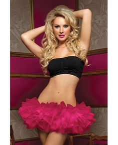 Tiered Multi Layer Tulle Tutu w/Elastic Waistband Pink O/S