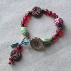 Rustic BoHo Bead & Button Bracelet with Sari Silk by Dragonf1ySun, £18.00