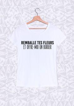 Découvrez le Tee-shirt pour Femme Col Rond « Remballe tes fleurs » -  de la marque J'aime la grenadine. 100% coton bio. Livraison gratuite en France.