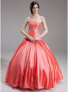 e04398ee33 Ball-Gown Sweetheart Floor-Length Taffeta Quinceanera Dress With Beading