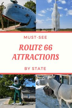 Must-See Route 66 Attractions by State : Utterly awesome to notably historic to wacky weird to lip-smacking delicious, here are our recommendations for the must see Route 66 attractions. Route 66 Attractions, Old Route 66, Route 66 Road Trip, Historic Route 66, Travel Route, Us Road Trip, Travel Usa, Places To Travel, Places To See