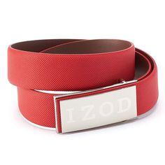Men's IZOD Logo Plaque Golf Belt, Size: 38, Red