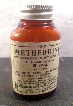 Antiquated Druggist — Methamphetamine Hydrochloride bottle, from the. Antique Bottles, Vintage Bottles, Bottles And Jars, Glass Bottles, Vintage Advertisements, Vintage Ads, Retro Ads, Old Medicine Bottles, Vintage Medical