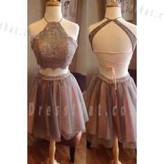 Two-Piece Halter Appliques Beading Backless Short Brown Organza Homecoming Dress