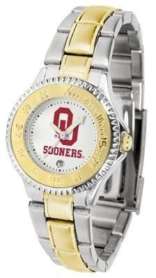 Oklahoma Sooners Women's Two Tone Dress Watch by SunTime. $86.95. Officially Licensed Oklahoma Sooners Ladies Two Tone Dress Watch. Links Make Watch Adjustable. Women. Two-Tone Stainless Steel. Water Resistan. Oklahoma Sooners Women's Two Tone Dress Watch. This Sooners timepiece offers women a classic, business-appropriate look. Features a gold ion-plated bezel, stainless steel case and date function. Secures to your wrist with a two-tone solid stainless steel band comple...