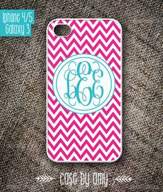 Monogram iPhone 4 Case  Pink iPhone Case with by casebyamy on Etsy, $16.80