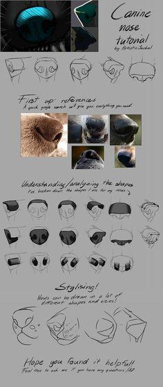 artist-refs:  Quick canine nose tutorial by ArtisticJackal