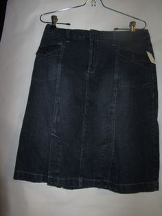 Sonoma Modest Modesty Jean Skirt sz 8, Blue,Cotton Blend,Solid,knee length,tier #Sonoma #Tiered