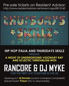Thurs 14th April - First Thursdays Skillz event a night of rap hip hop and turntablism - a celebration of the blooming contemporary Italian scene! w/ Rancore & Dj Myke // S.U.N.S.H.I.N.E. (Live)  Bar A Bar // 133-135 Stoke Newington Road // N16 8BT   #Italian #HipHop #ItalianHipHop #Rap #Turntablism #ElectroAcoustic #London #Music #Dope by packlondon