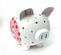 Blooms Personalized Piggy Bank Ceramic Custom by SamselDesigns Pig Bank, Penny Bank, Ceramic Store, Christmas Presents For Girls, Personalized Piggy Bank, Miss Piggy, Cute Piggies, Money Box, Pottery Painting