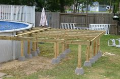 Oberirdische Pools, Deck Plans, Backyard Patio, Outdoor Furniture, Outdoor Decor, Home Decor, Gardens, Decoration Home, Room Decor