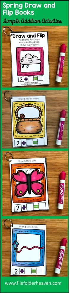 """These Simple Addition Activities, """"Spring Math Draw and Flip Books"""" focus on completing simple addition problems and creating number sentences.  There are four different books in this set:  Draw the Dots on the Butterfly Draw the Flowers in the Basket Draw the Bows on the Kites Draw the Rain Drops Under the Clouds  In a math center, or an independent work station, students complete the picture by drawing the additional parts that are specified on the page."""