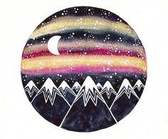 Aurora borealis Original Watercolor painting 8x10 Metallic gold pink northern lights Galaxy Milky way