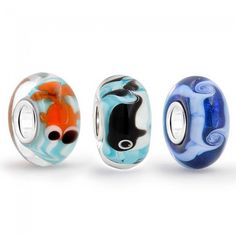 Bling Jewelry Silver Whale Fish Ocean Waves Murano Glass Bead Set Fits Pandora