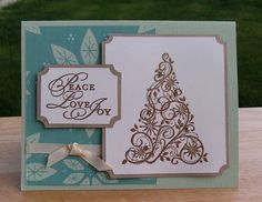 Embossed Tree Card from Scraps