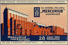 N.V. Koninkl. Pellerij Mercurius Wormerveer. Mercurius Havermout, vlug kokend, 28 cent per pondspak