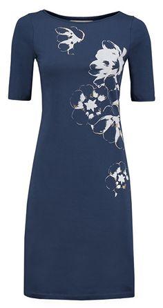 Le Pep jurk  donkerblauw tricot met bloemprint - model EDMEE lpa105dna VZ2016