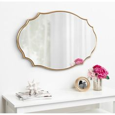 Shop Kate and Laurel Leanna Scalloped Oval Wall Mirror - Gold - 24x36 - Overstock - 31288732 Oval Mirror, Beveled Mirror, Beveled Glass, Moroccan Design, Gold Walls, Beautiful Wall, Bathrooms, Master Bathroom, Mirror Bathroom