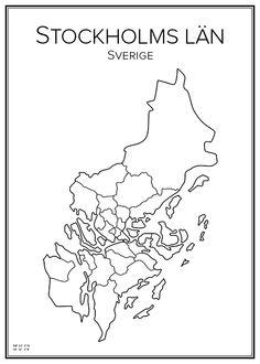 Stockholms län. Sweden. Map. City print. Print. Affisch. Tavla. Tryck.