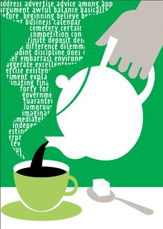 Time for a cuppa? illustration by Adrian Barclay for one of our Green print tips.