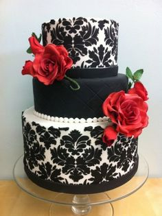 10 Roses With Black Fondant Cakes Photo. Awesome Roses with Black Fondant Cakes image. Black White Wedding Cake with Roses Wedding Cake White with Red Roses Black and White Cake with Fondant Flowers Black and Silver Cake Roses Black Flower Fondant Cake Black And White Wedding Cake, Red Rose Wedding, Fondant Wedding Cakes, Black Wedding Cakes, Damask Wedding, Black Weddings, Wedding Cupcakes, Wedding Flowers, Gorgeous Cakes
