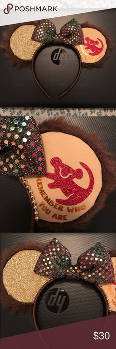 "Custom made lion king themed Mickey Mouse ears Only worn once. Brand new condition. Lion king theme. They say ""remember who you are"". Fur detail around the ears. Light weight and very comfortable. You don't even know you are wearing them. Perfect for a trip to Disney world or land. Accessories Hair Accessories"