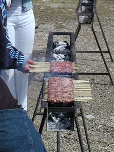 Arrosticini - Wikipedia, the free encyclopedia Outdoor Wood Burner, Outdoor Oven, Outdoor Cooking, Bbq Grill, Grilling, Comida Armenia, Parrilla Exterior, Bbq Shed, Big Green Egg Grill
