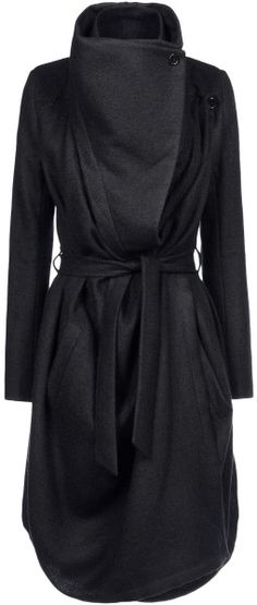 Ann Demeulemeester Coat in Black - Lyst