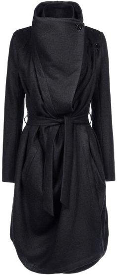 Ann Demeulemeester Coat in Black - Lyst