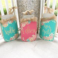 new Ideas burlap door hangers diy spring mason jars Chalet Design, Mason Jar Crafts, Mason Jar Diy, Apartment Inspiration, Pots, Burlap Door Hangers, Painted Front Doors, Wood Painting Art, Wood Art