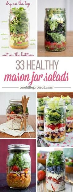 WMF Cutlery And Cookware - One Of The Most Trustworthy Cookware Producers These Healthy Mason Jar Salads Are Amazing Prep All The Ingredients On Sunday And You Have Easy Lunches And Side Dishes All Week So Easy And Nutritious Mason Jar Lunch, Mason Jar Meals, Meals In A Jar, Salad Mason Jars, Mason Jar Food, Mason Jar Recipes, Mason Jar Drinks, Mason Jar Kitchen, Food Jar