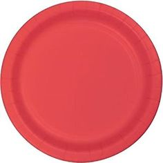 "Amazon.com: Custom & Unique {7"" Inch} 24 Count Bulk Multi-Pack Set of Medium Size Round Circle Disposable Paper Plates w/ Simple Modern Plain Natural Basic ""Red Colored"": Kitchen & Dining"