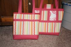 Large patterned tote with salmon trim on playful by SouthHaven, $50.00