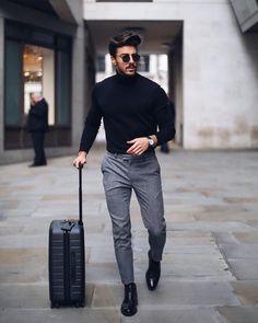 Mens solid plain choker sweater w 2019 zaki outfit grid mens Fashion Mode, Fashion Night, Suit Fashion, Classy Mens Fashion, Fashion Boots, Style Fashion, Fashion Ideas, Fashion Black, Men Winter Fashion