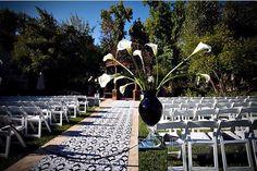 Use damask wallpaper as a wedding aisle runner!  Fresno Weddings: http://www.Fresno-Weddings.Net/