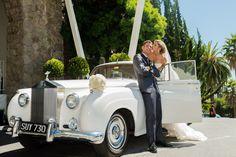 Old Hollywood glam wedding photos with rolls Royce