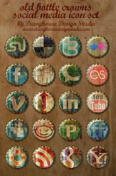 {Free Social Media Icons: Old Bottle Crowns Icon Set} Not sure what I would use these for, but I like them nonetheless.