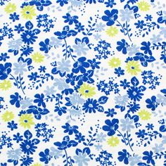 Blue Chartreuse Retro Floral on White Cotton Jersey Knit Fabric :: $5.75
