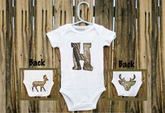 Camouflage Personalized Onesie - Baby Boy Girl Clothes - Outdoorsman Hunter Deer. $19.99, via Etsy.