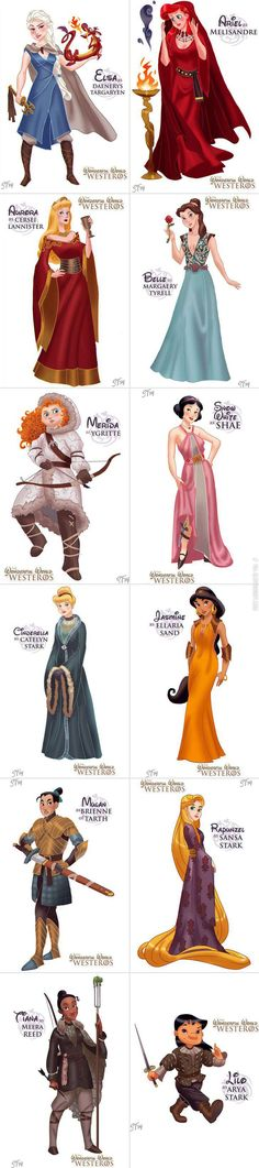 Disney princesses as the women of Game of Thrones.